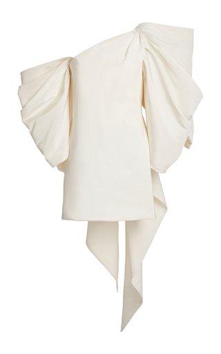 Bow-Embellished Silk-Faille Mini Dress