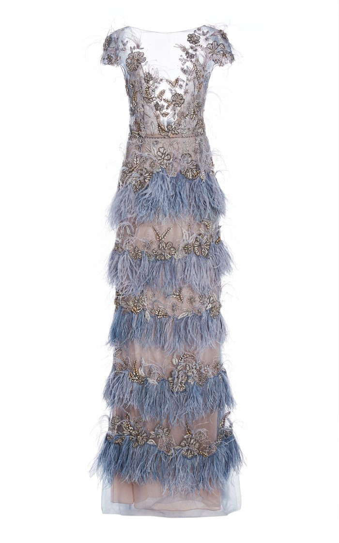 Beaded-Embellished Organza Gown