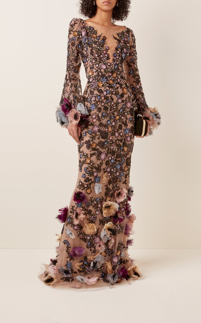 Floral-Appliquéd Embroidered-Tulle Gown