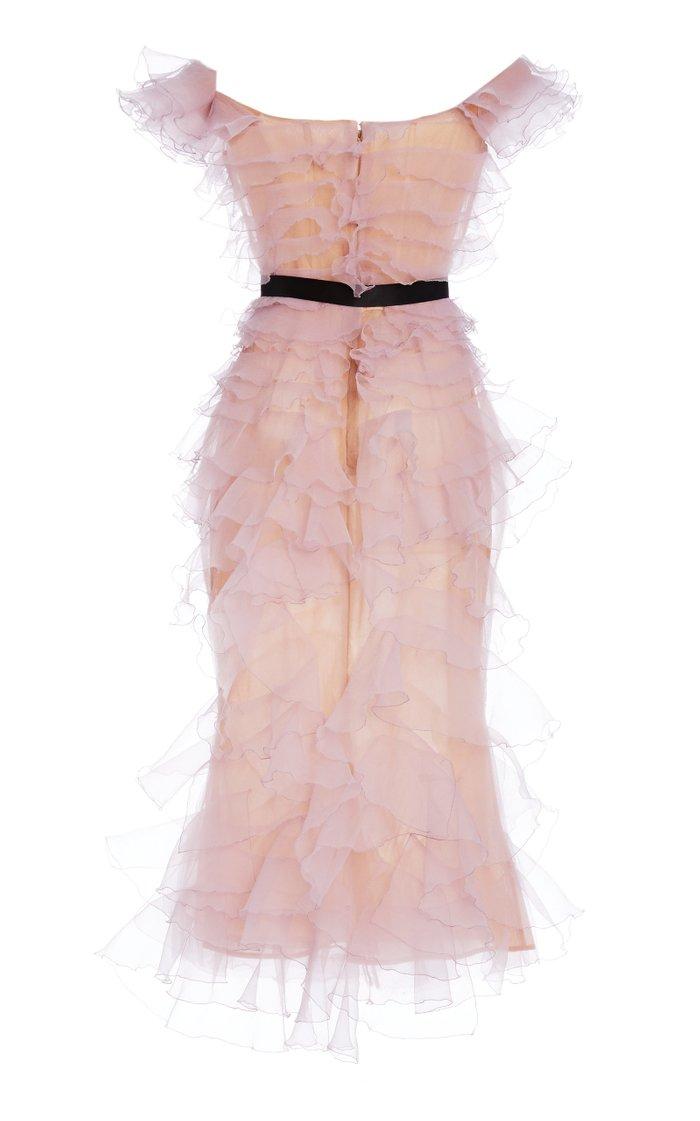 Bow-Accent Ruffled Organza Midi Dress