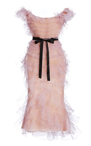 Bow-Accent Ruffled Organza Midi Dress