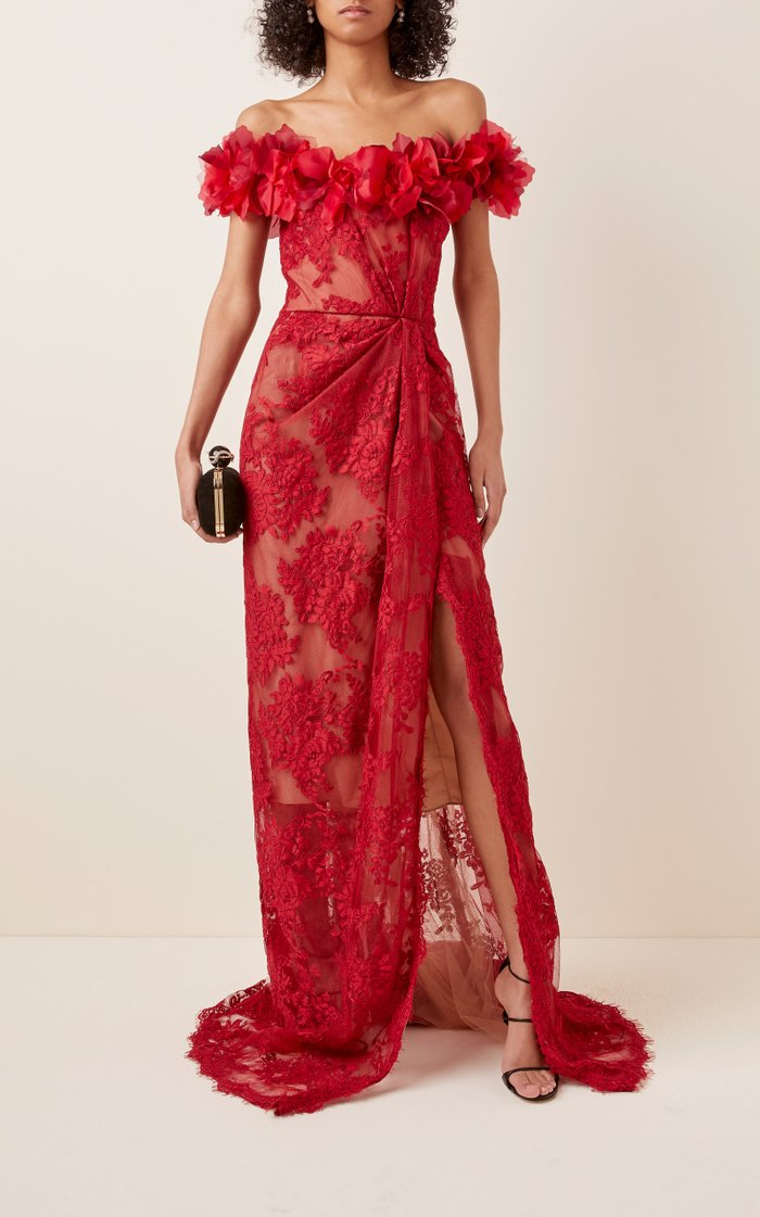 Floral-Embellished Lace Gown