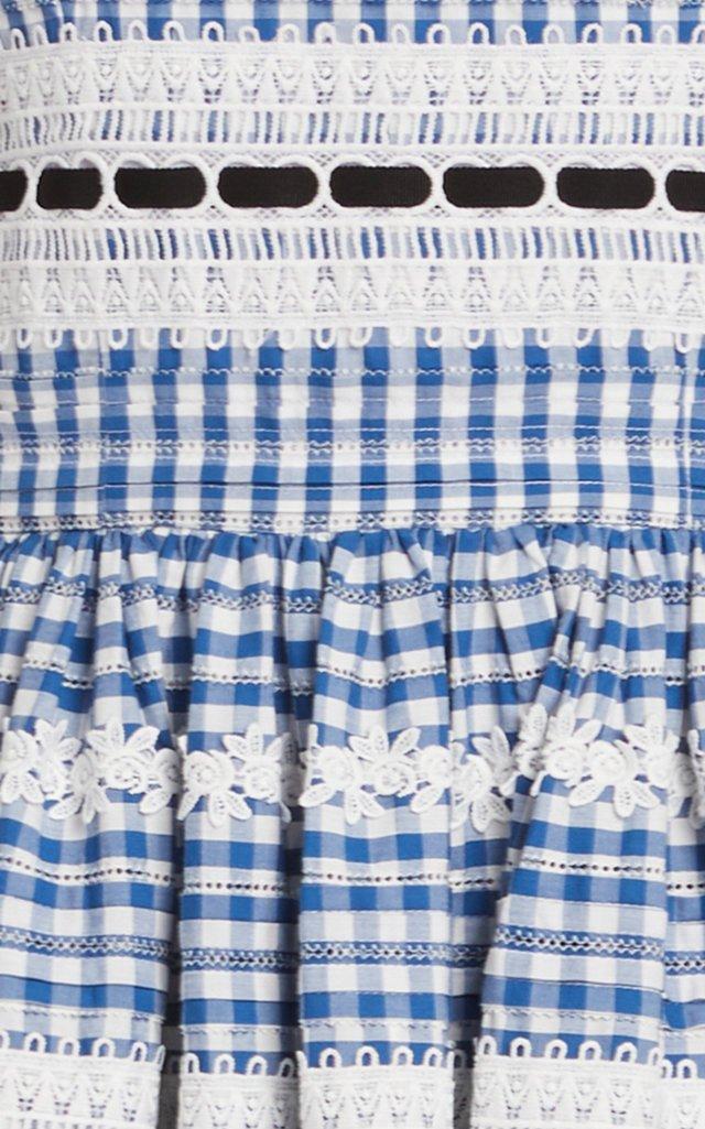 Checked Embroidered Cotton Midi Dress