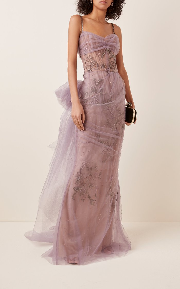 Bow-Embellished Tulle Gown