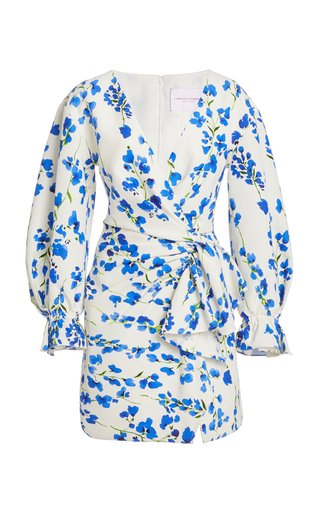 Floral-Print Wrap-Effect Cotton-Blend Mini Dress