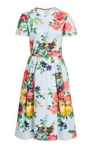 Pleated Floral-Print Cotton-Blend Dress
