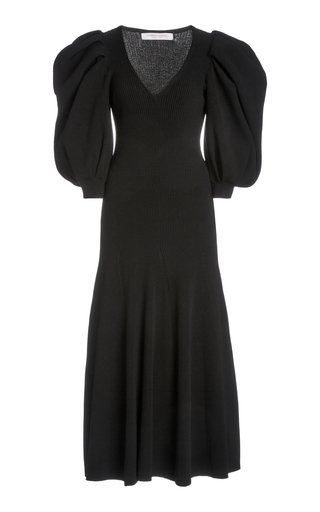 Puffed-Sleeve Ribbed-Knit Midi Dress
