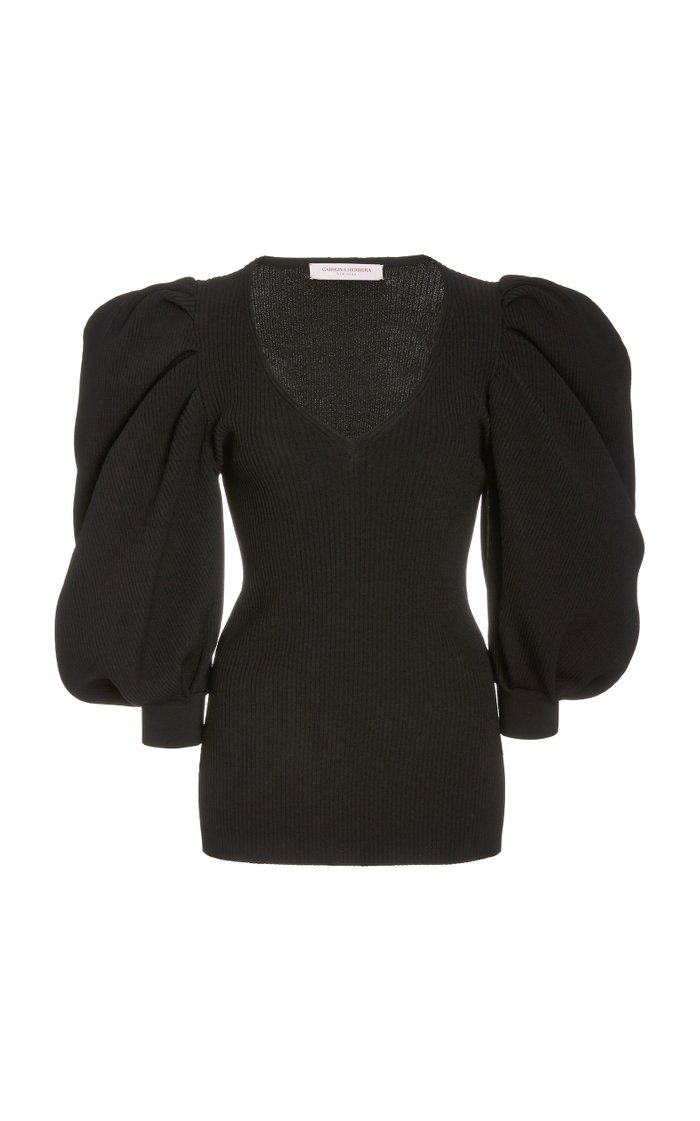 Puffed-Sleeve Ribbed-Knit Top