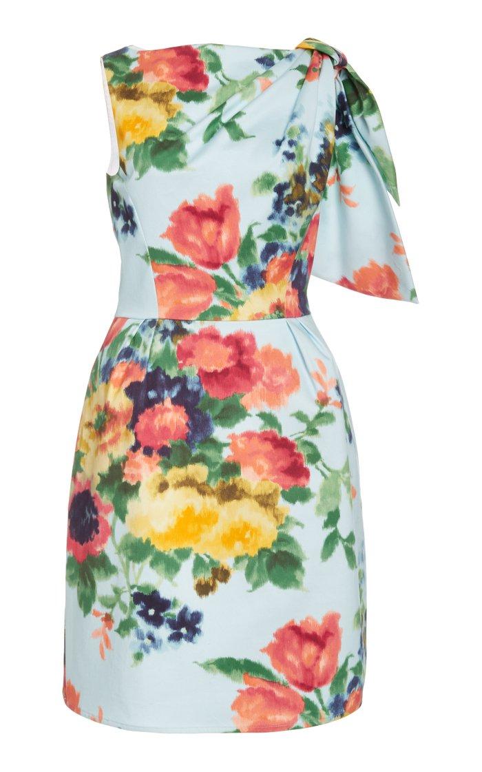 Gathered Floral-Print Cotton-Blend Dress