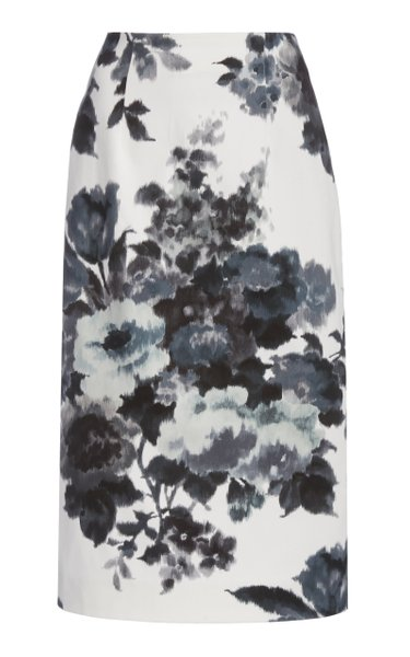 Floral-Print Stretch-Cotton Pencil Skirt