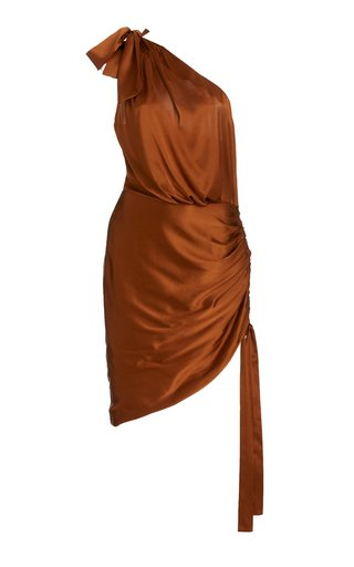 Nadia One-Shoulder Stretch-Silk Mini Dress