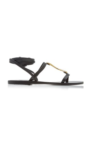 Nemesis Metal-Detailed Leather Lace-Up Sandals