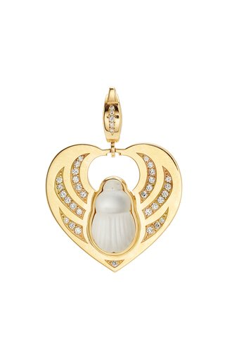 14K Yellow Gold Mother of Pearl Scarab Heart Charm