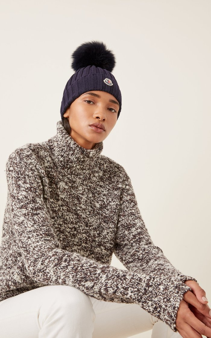 Fur-Trimmed Ribbed-Knit Wool Beanie