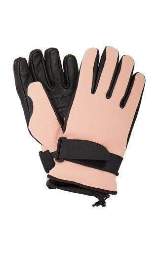 Leather-Paneled Tech-Twill Ski Gloves