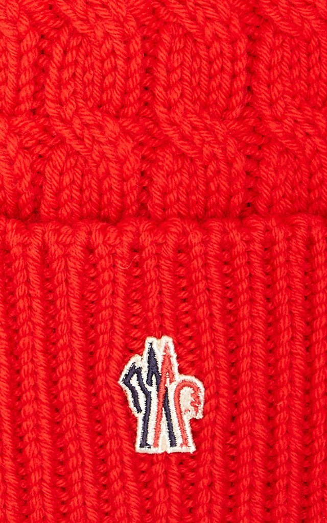 Fur-Trimmed Cable-Knit Wool Beanie