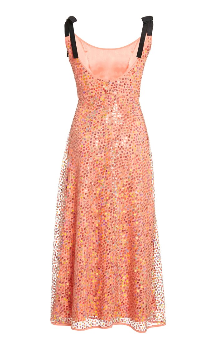 Mars Sequined Chiffon Midi Dress