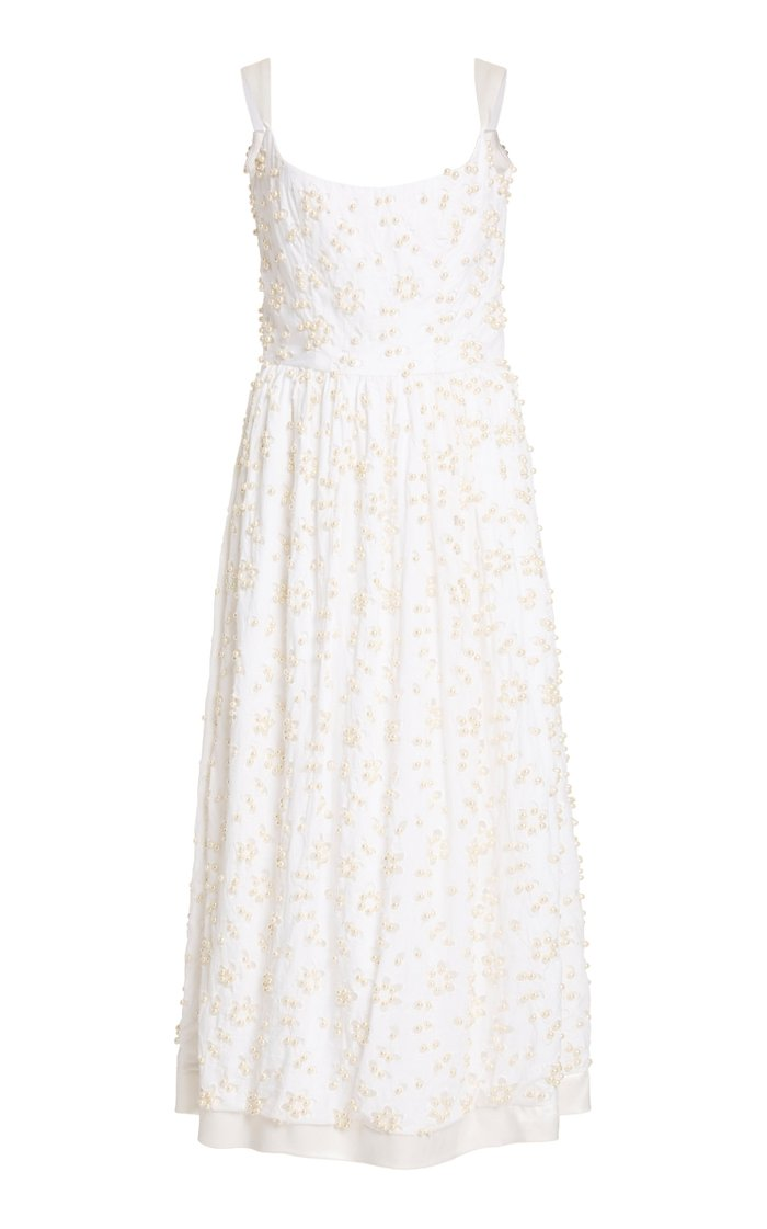 Persephone Embellished Broderie Anglaise Cotton Midi Dress