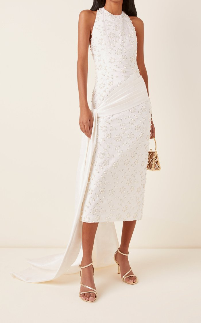 Draped Embellished Broderie Anglaise Cotton Midi Dress