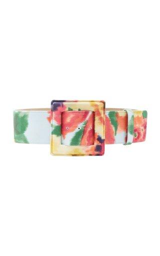 Floral-Print Stretch-Cotton Waist Belt