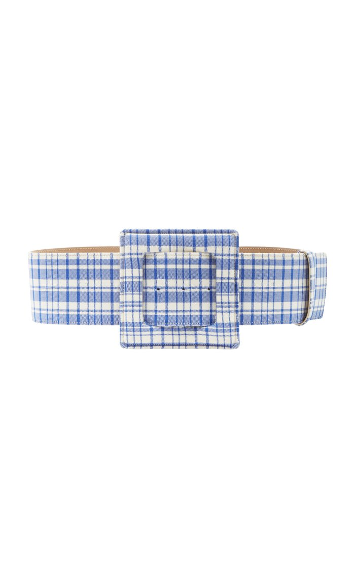 Plaid Wool Large Square Buckle Belt