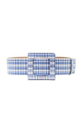 Plaid Wool Large Square Buckle Belt