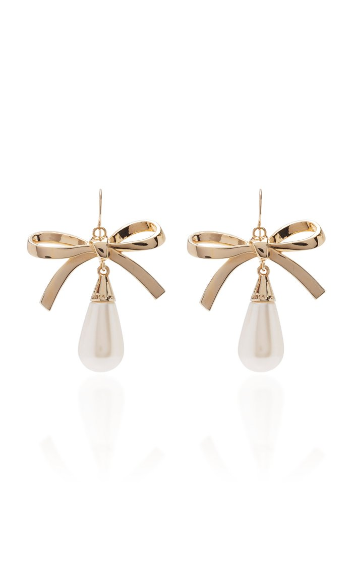 Metal Bow And Pearl Drop Earring
