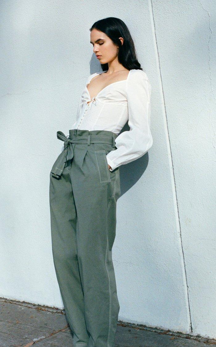 June Cotton-Blend Oxford Bustier Top
