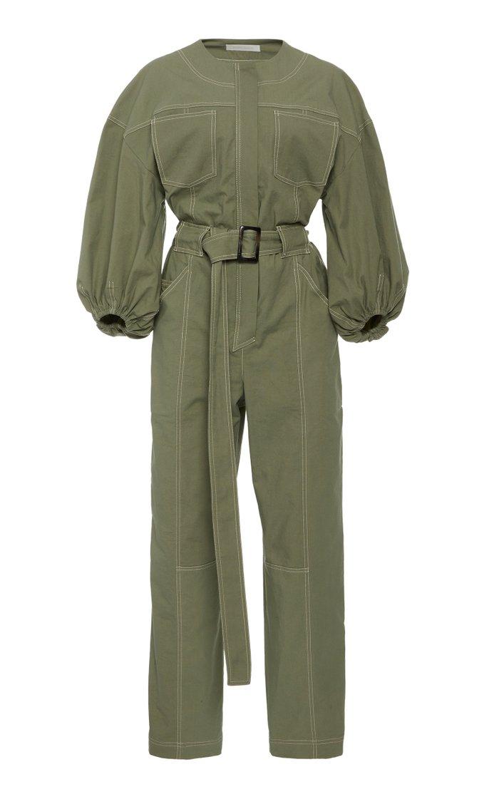 Annika Puff-Sleeve Stretch-Cotton Jumpsuit