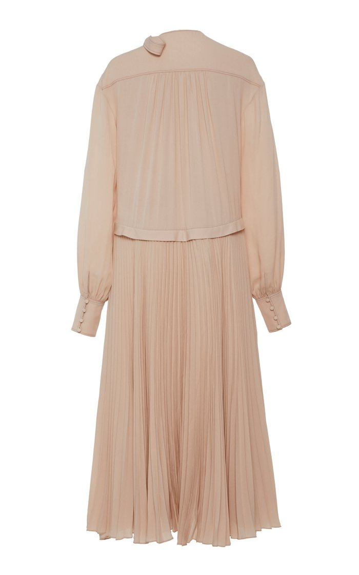Nicolette Pleated Georgette Dress