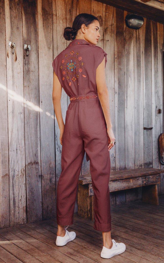 Gouyen Embroidered Cotton Gabardine Jumpsuit