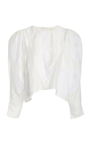 Namid Embroidered Cotton-Silk Voile Top