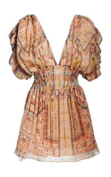 Arnaq Printed Crinkled Georgette Mini Dress