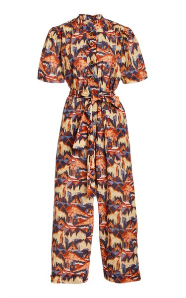 Urpi Printed Metallic Cotton Voile Jumpsuit
