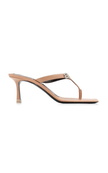 Ivy Logo Leather Thong Heeled Sandals
