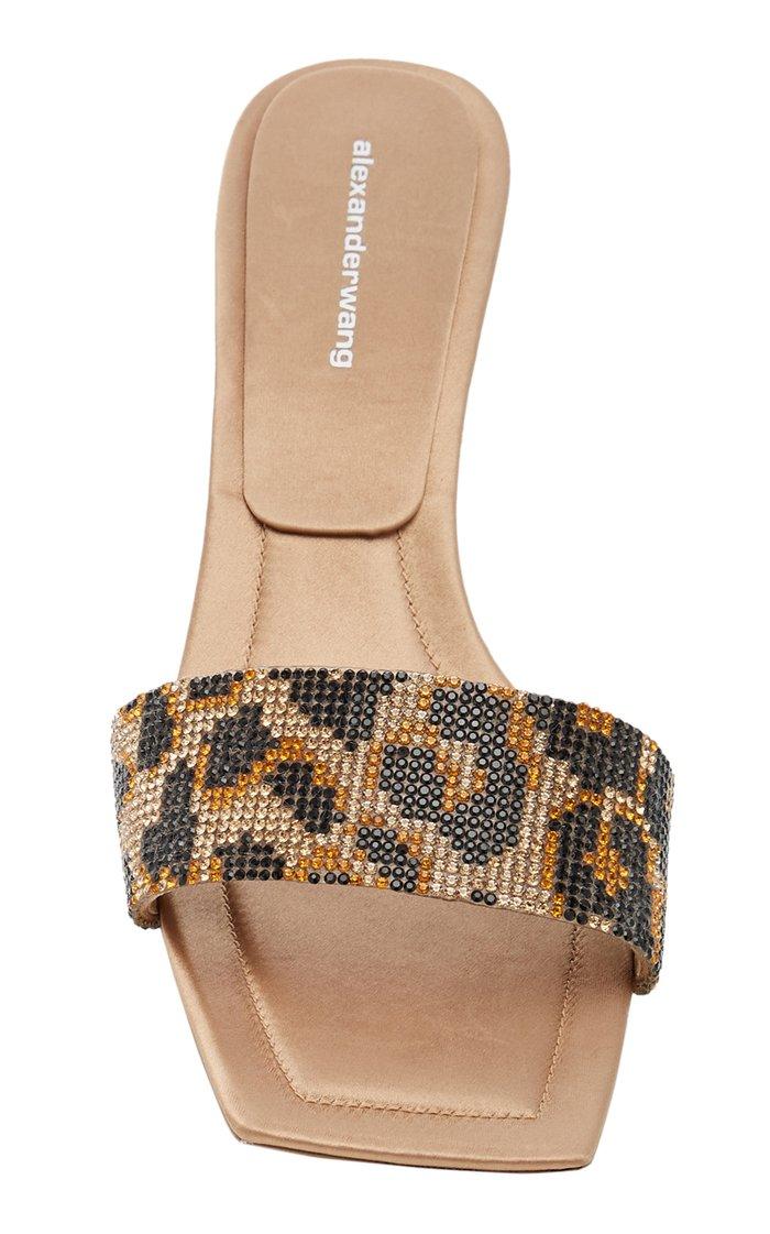 Jessie Leopard-Print Crystal-Embellished Leather Sandals