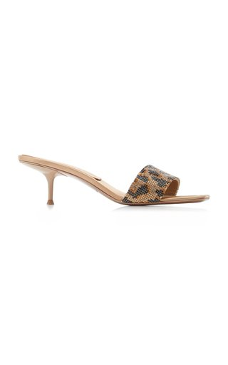 Jessie Leopard-Print Crystal-Embellished Leather Sandals