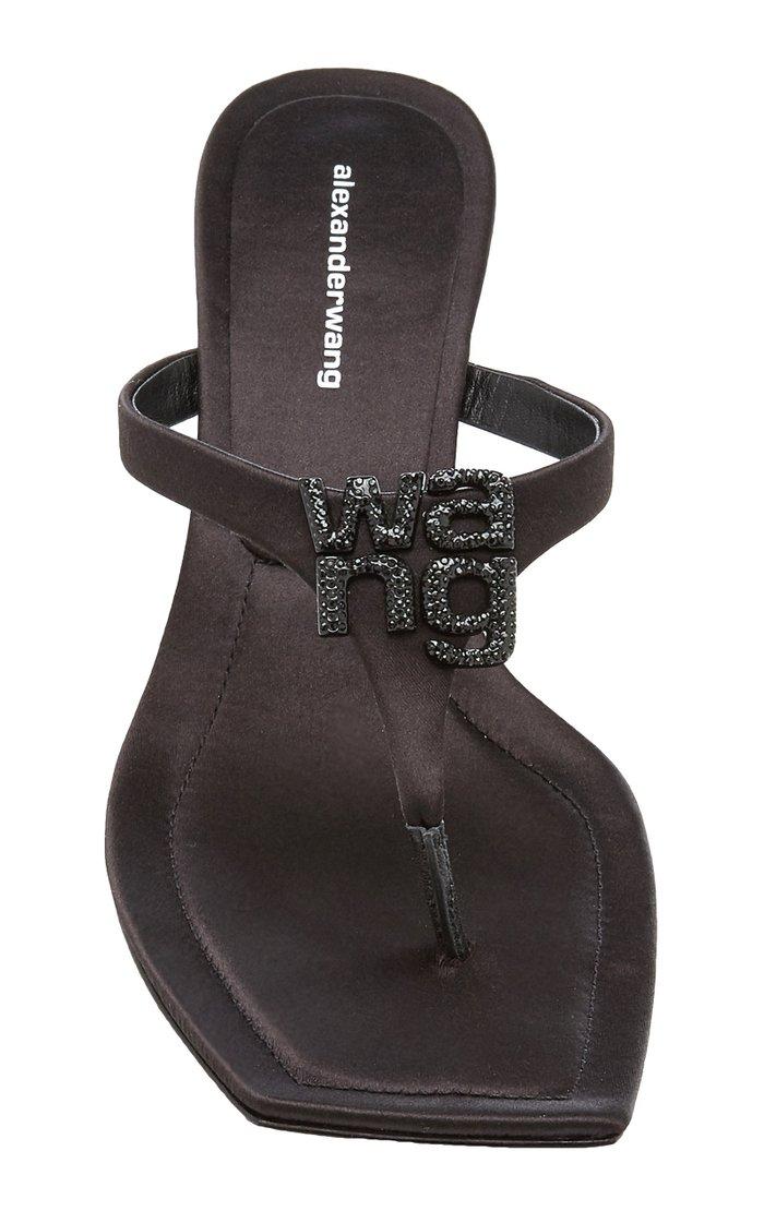 Bianca Embellished Satin Thong Sandals