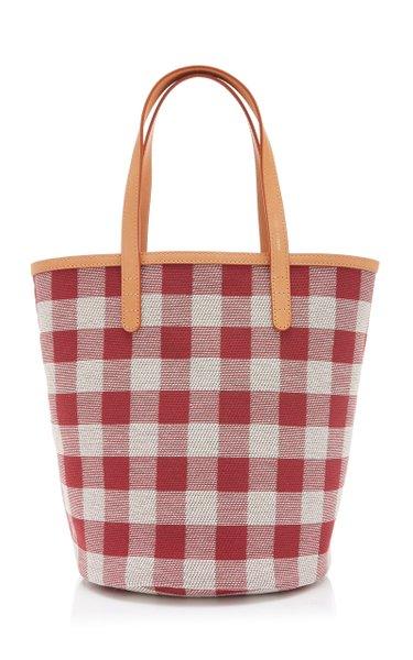 Checkered Circle Mini Canvas Bucket Bag