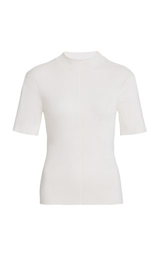 Ribbed Stretch-Silk Top