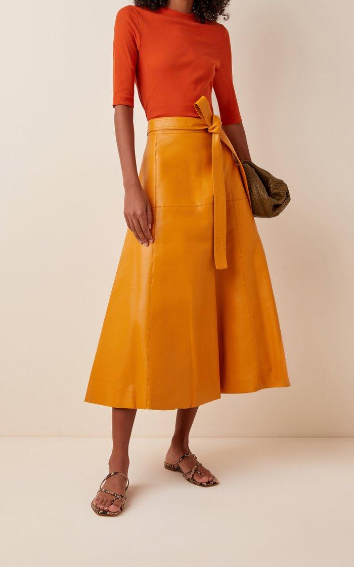 Tie-Detailed Leather Midi Skirt
