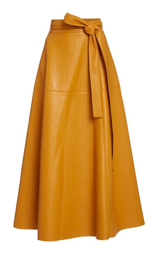 Tie-Detailed Leather Midi Skirt
