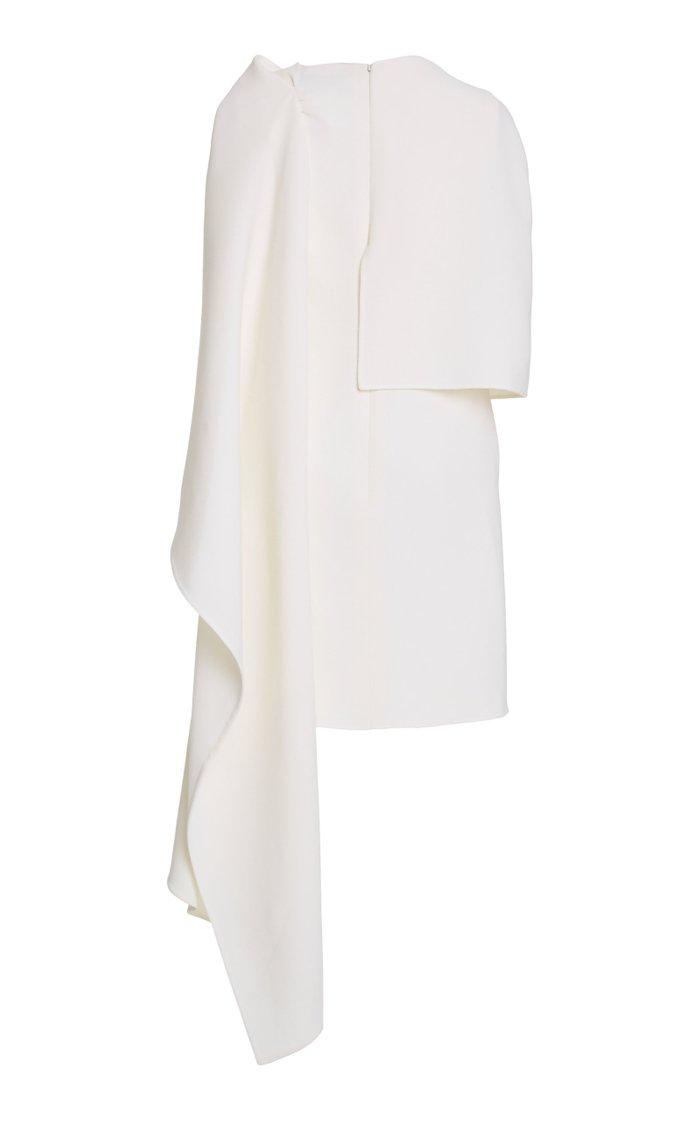 Crepe De Chine Caped Dress