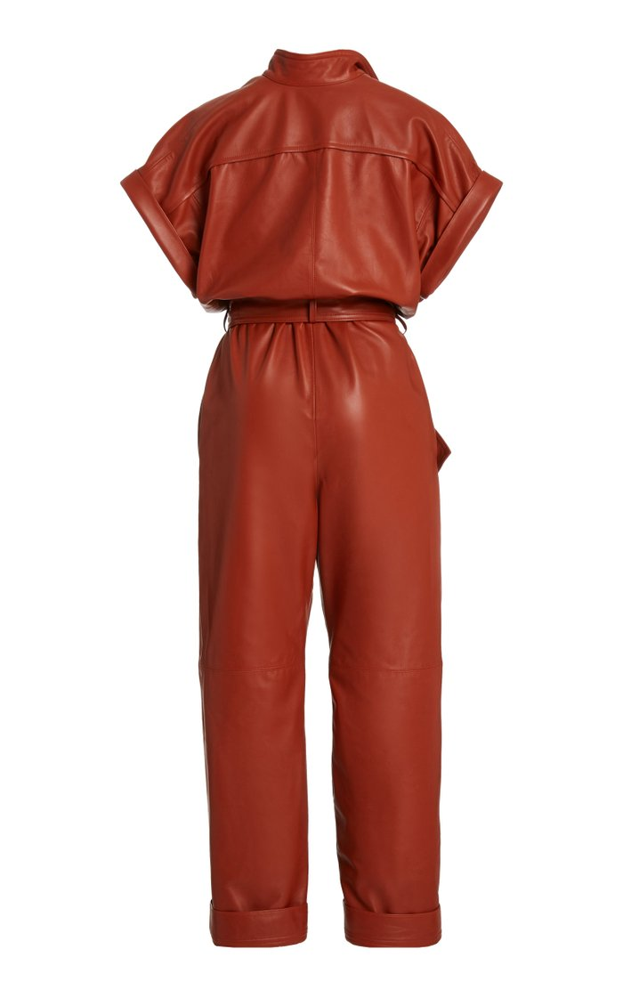 Belted Leather Jumpsuit