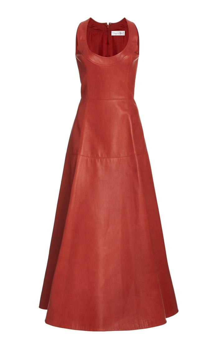 Leather A-Line Midi Dress