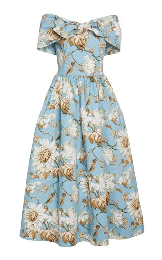 Bow-Accented Floral-Print Stretch-Cotton Dress