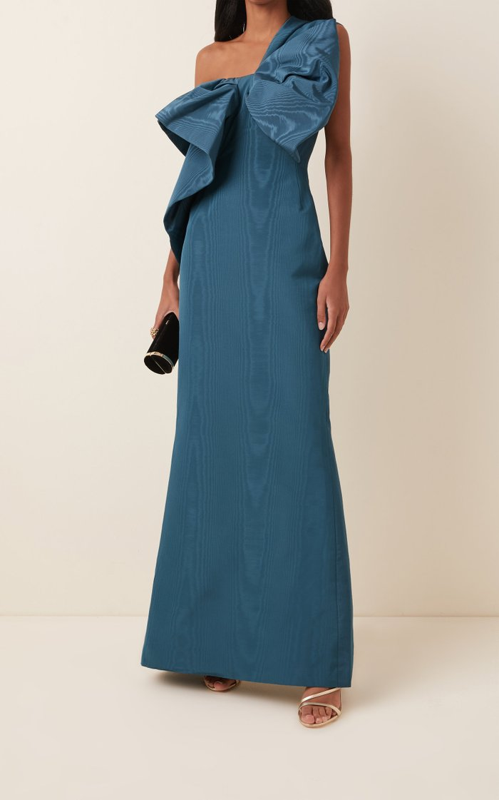 Bow-Accented Moiré Gown
