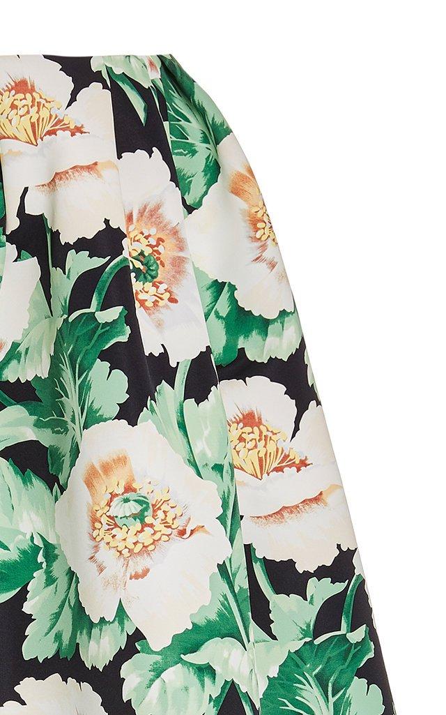 Floral-Print A-Line Crepe De Chine Midi Skirt