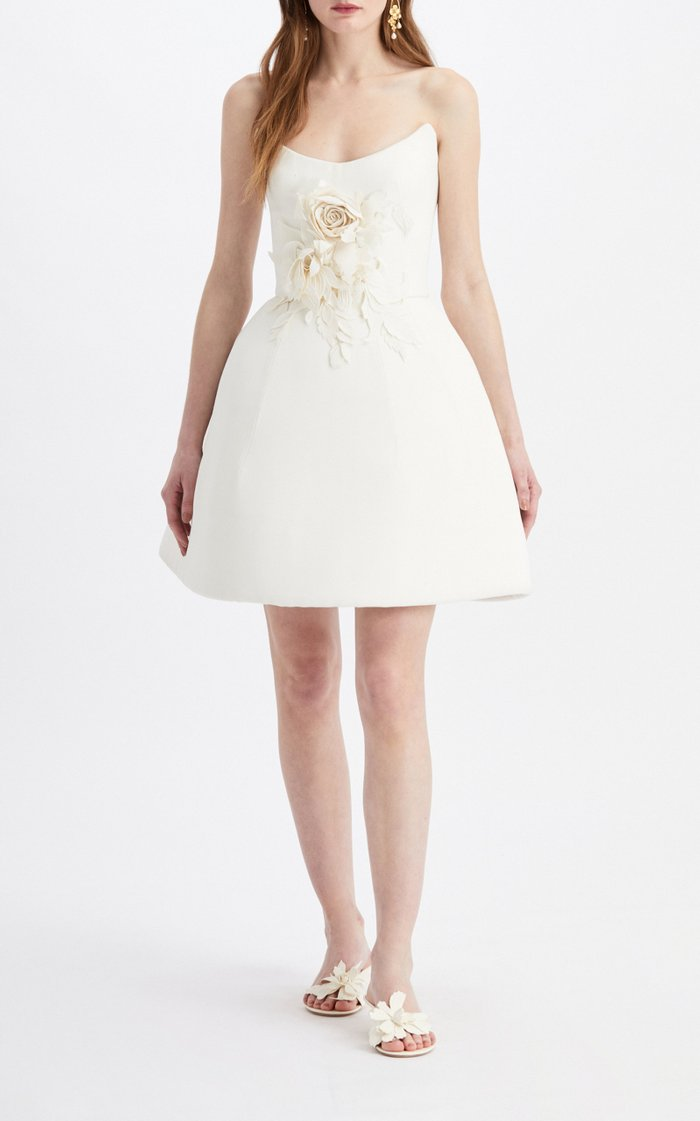 Embellished Crepe De Chine Mini Dress