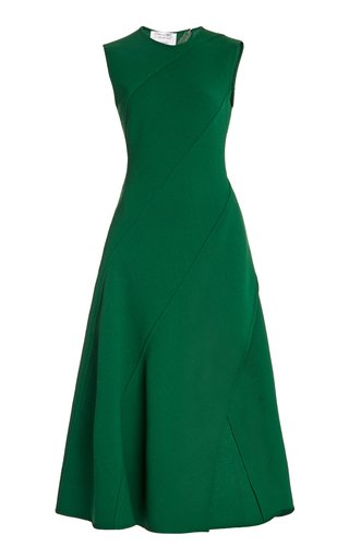 Bias-Cut Wool-Blend Midi Dress